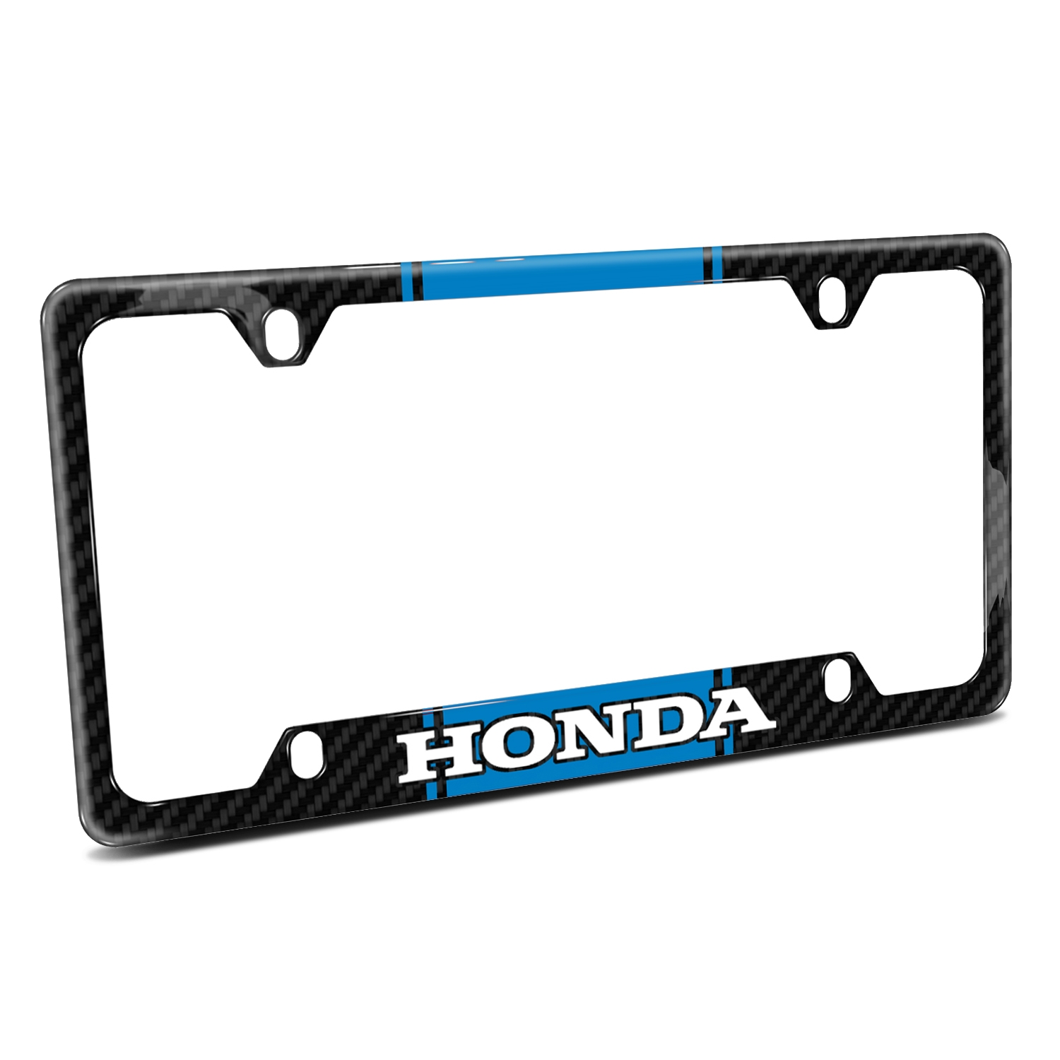 Honda Logo Blue Racing Stripe Black Real Carbon Fiber 50 States License Plate Frame