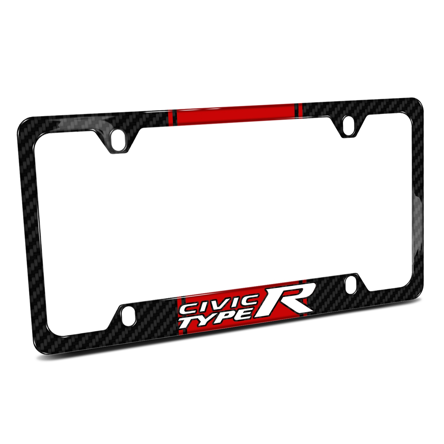 Honda Civic Type R Red Racing Stripe Black Real Carbon Fiber 50 States License Plate Frame
