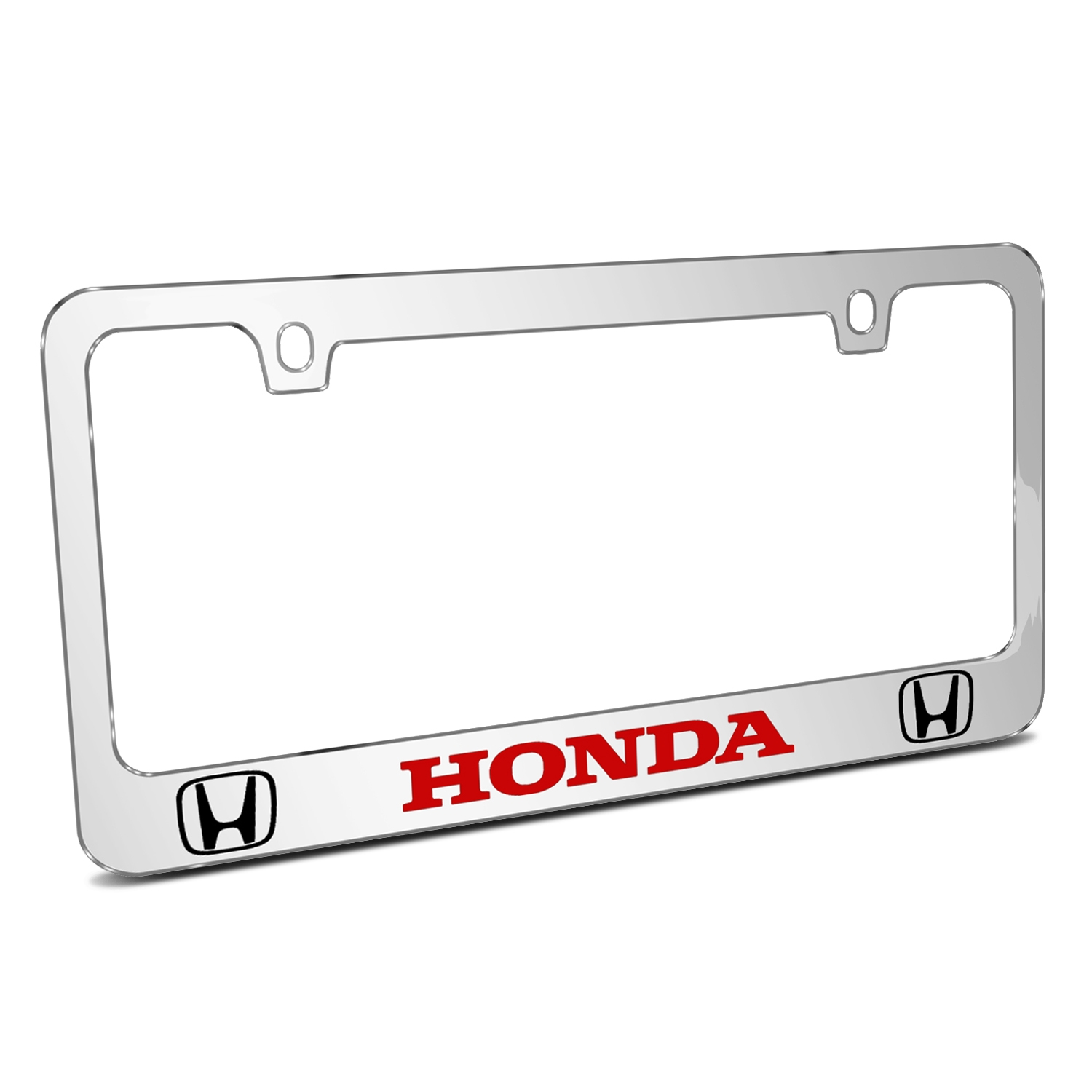 Honda Logo in Red Dual Logo Mirror Chrome Metal License Plate Frame