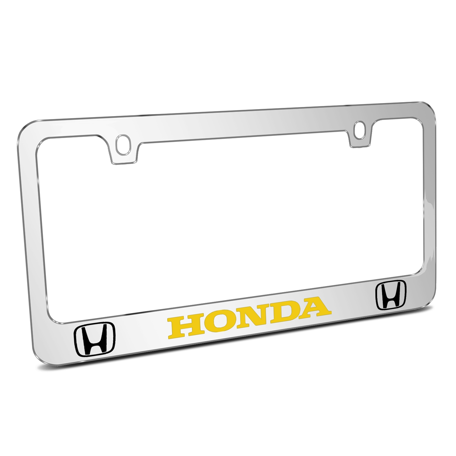 Honda Logo in Yellow Dual Logo Mirror Chrome Metal License Plate Frame