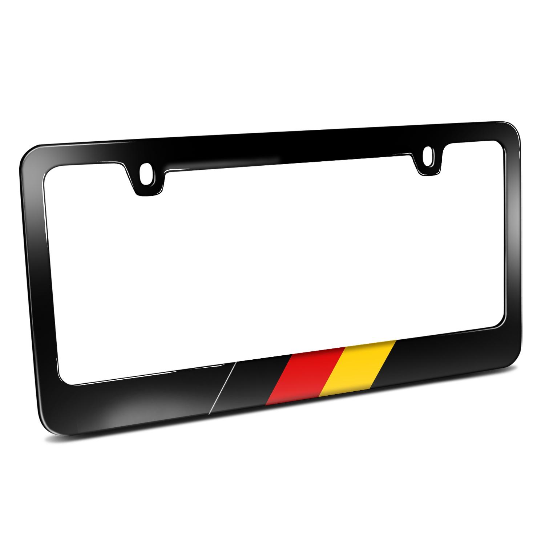 German Flag Sports Stripe Black Metal License Plate Frame