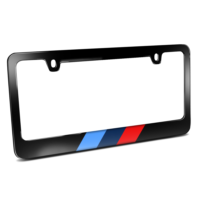 Sports M Stripe Black Metal License Plate Frame for BMW