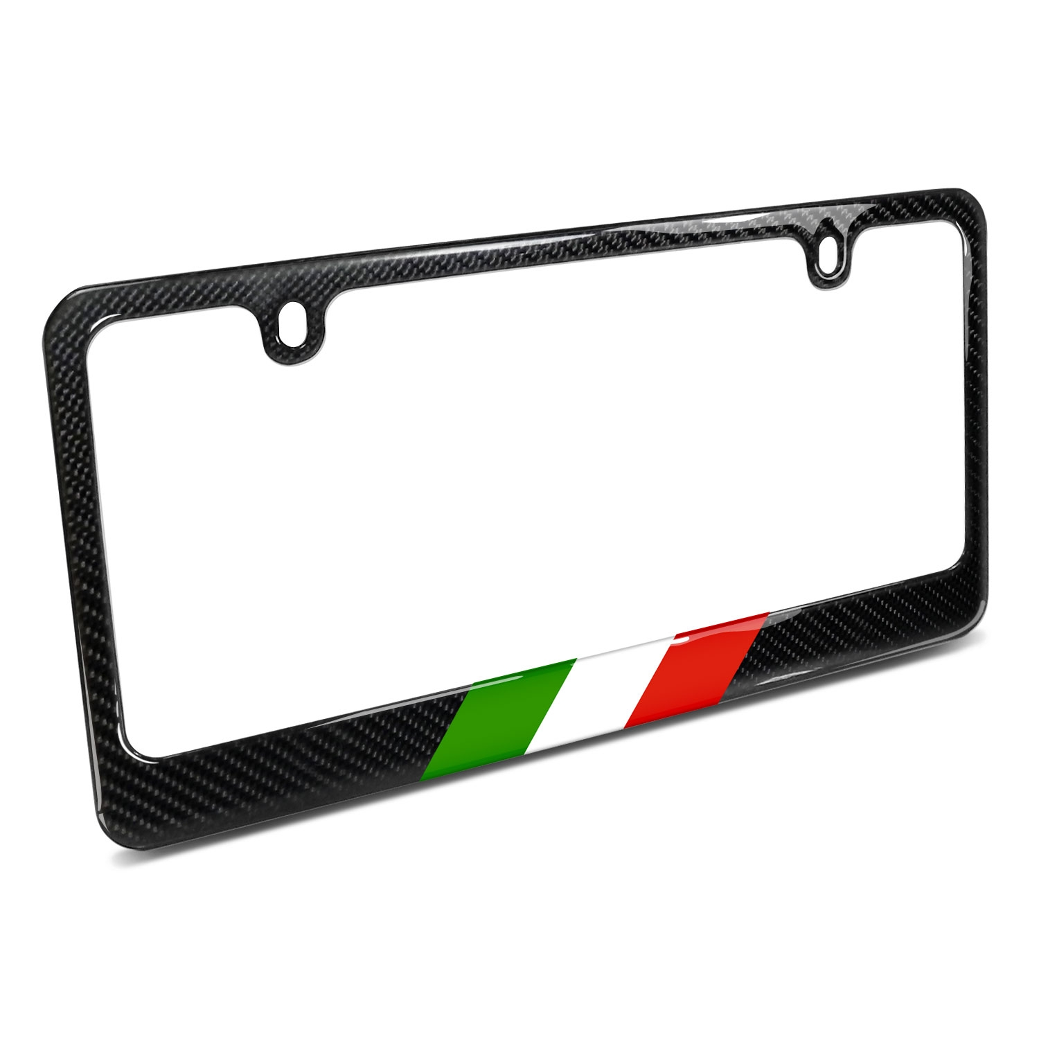 Real Black Carbon Fiber Italy Flag in Sports Stripe License Plate Frame
