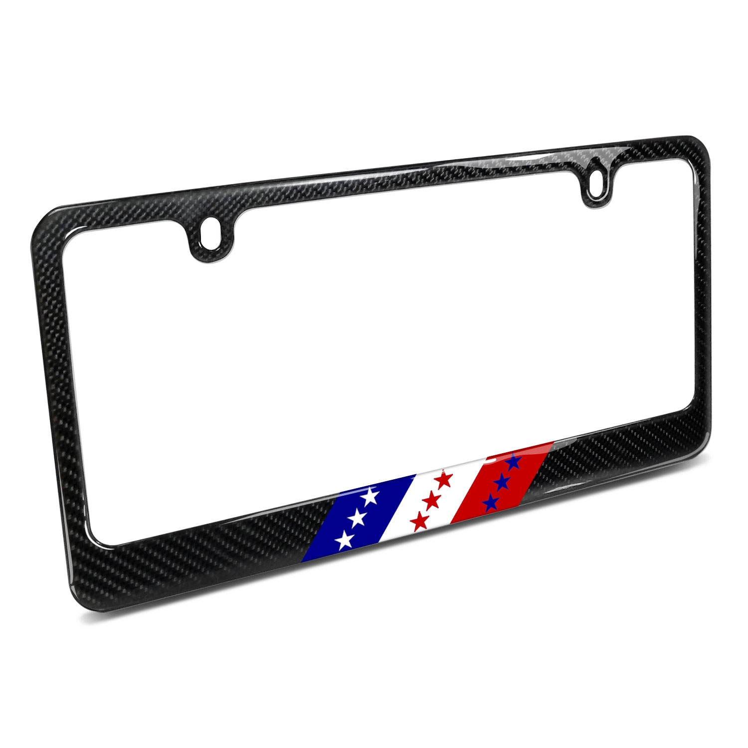 Real Black Carbon Fiber USA Amercan Flag in Sports Stripe License Plate Frame
