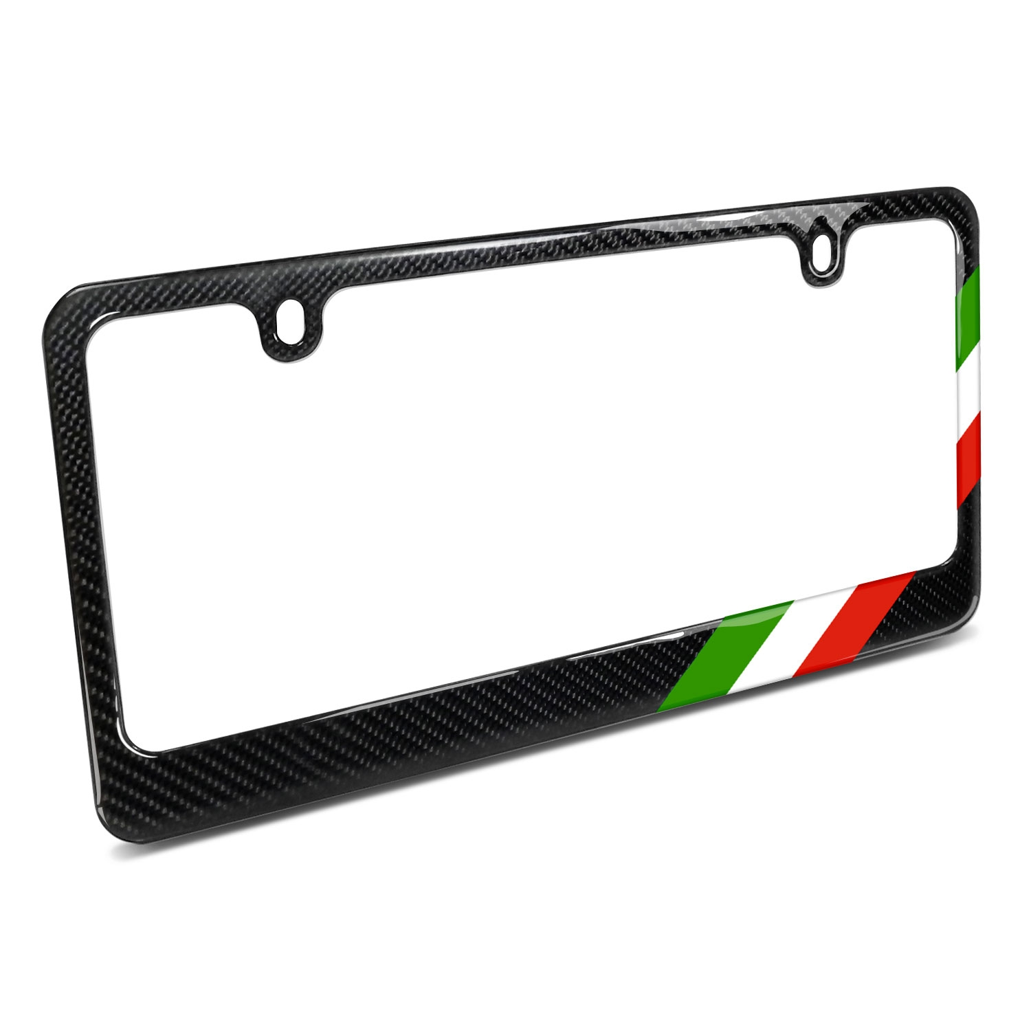Real Black Carbon Fiber Italy Flag Off-center in Sports Stripe License Plate Frame