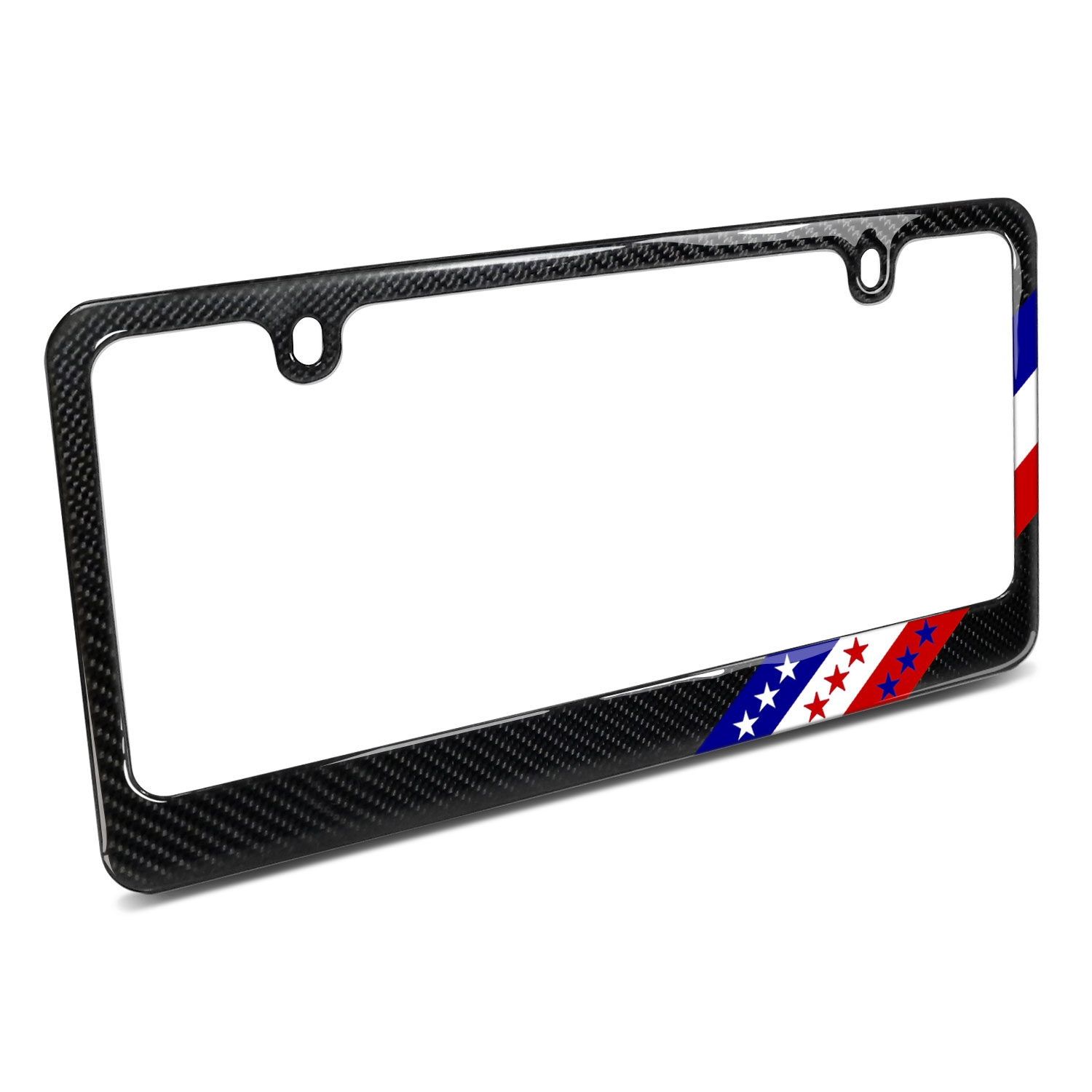 Real Black Carbon Fiber USA Amercan Flag Off-center in Sports Stripe License Plate Frame