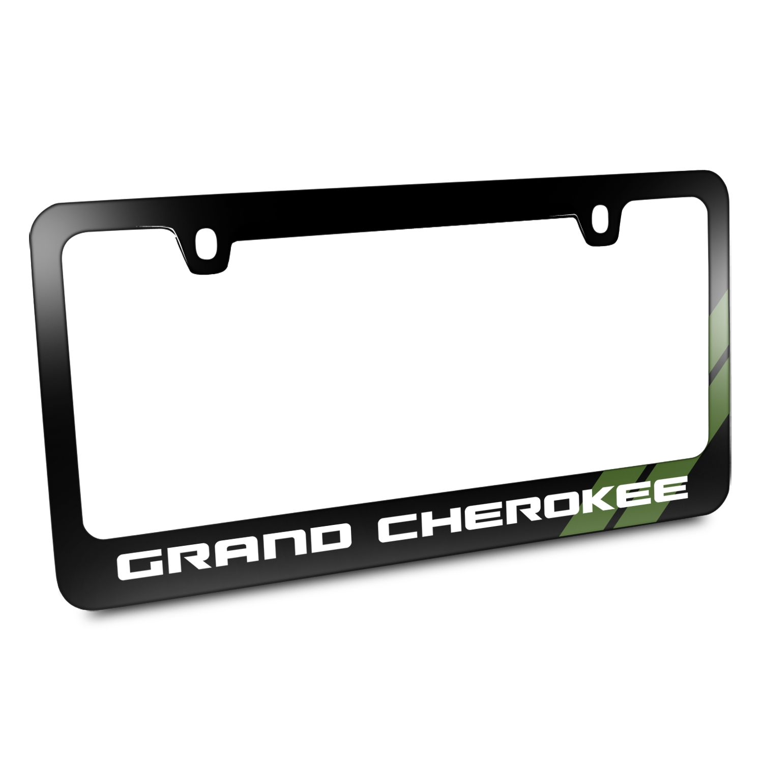 Jeep Grand Cherokee Green Stripe Black Metal License Plate Frame
