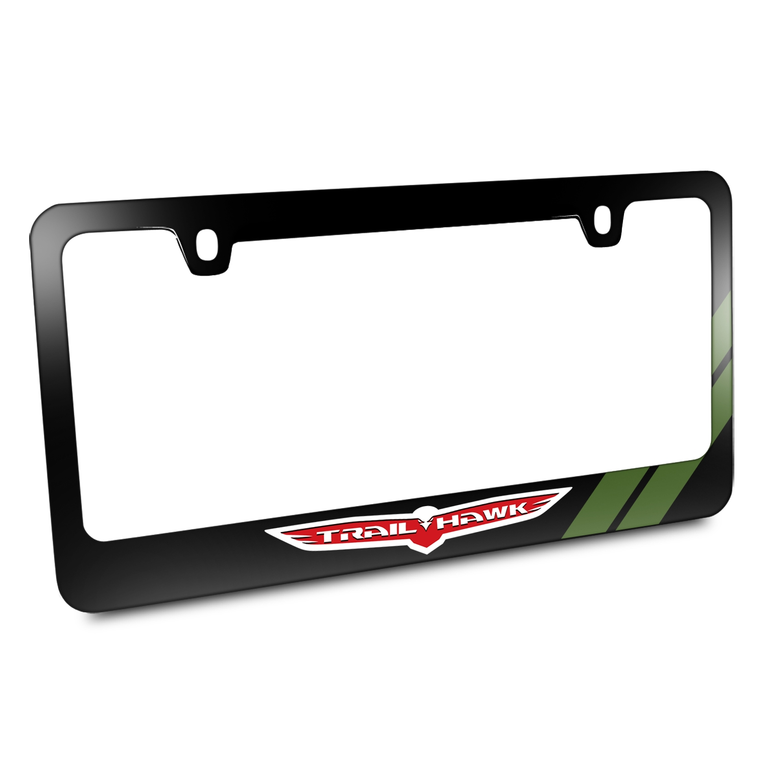 Jeep Trailhawk Green Stripe Black Metal License Plate Frame