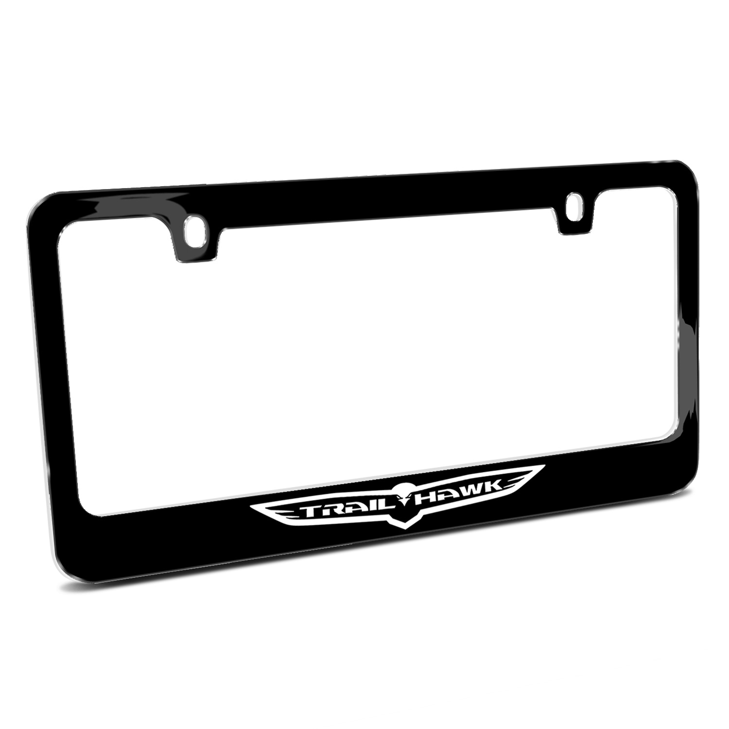 Jeep Trailhawk Outline Black Metal License Plate Frame