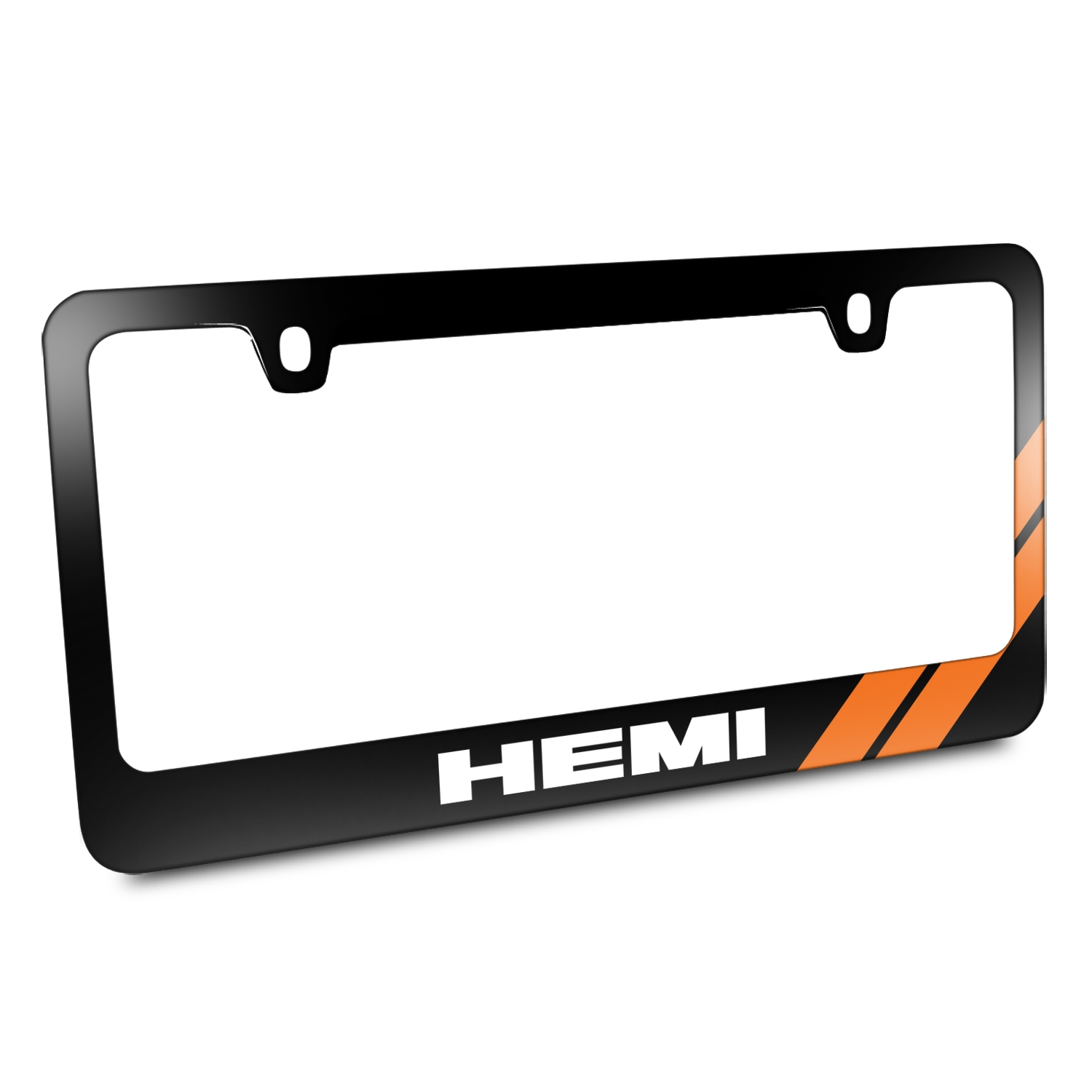 HEMI Orange Stripe Black Metal License Plate Frame