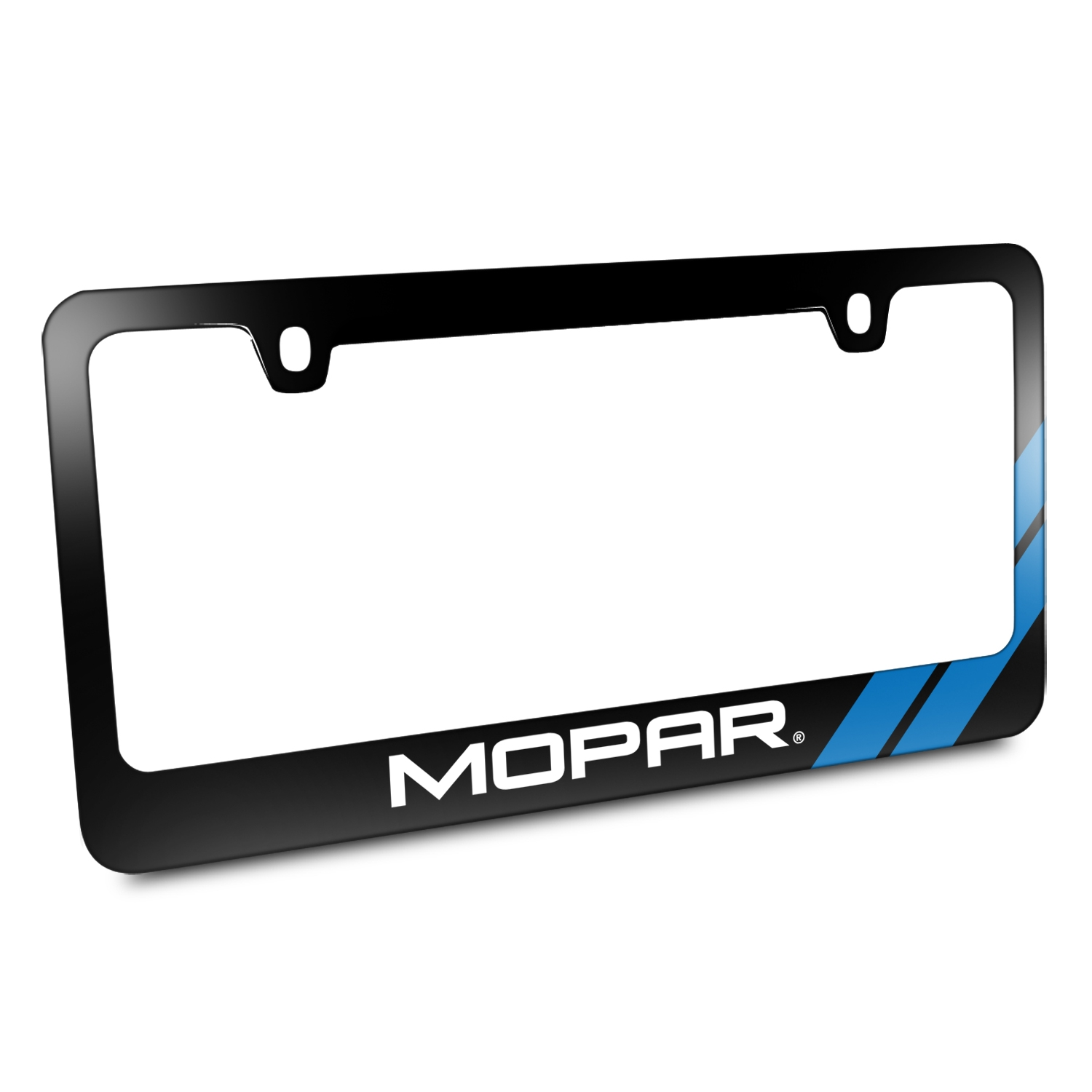 Moper Blue Stripe Black Metal License Plate Frame