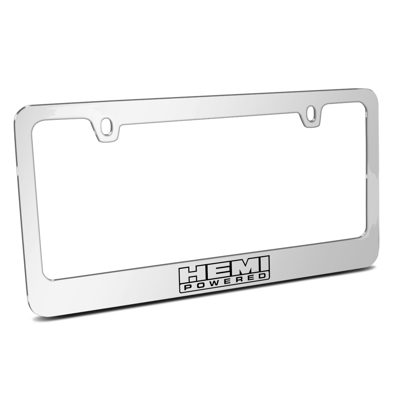 HEMI Powered Mirror Chrome Metal License Plate Frame