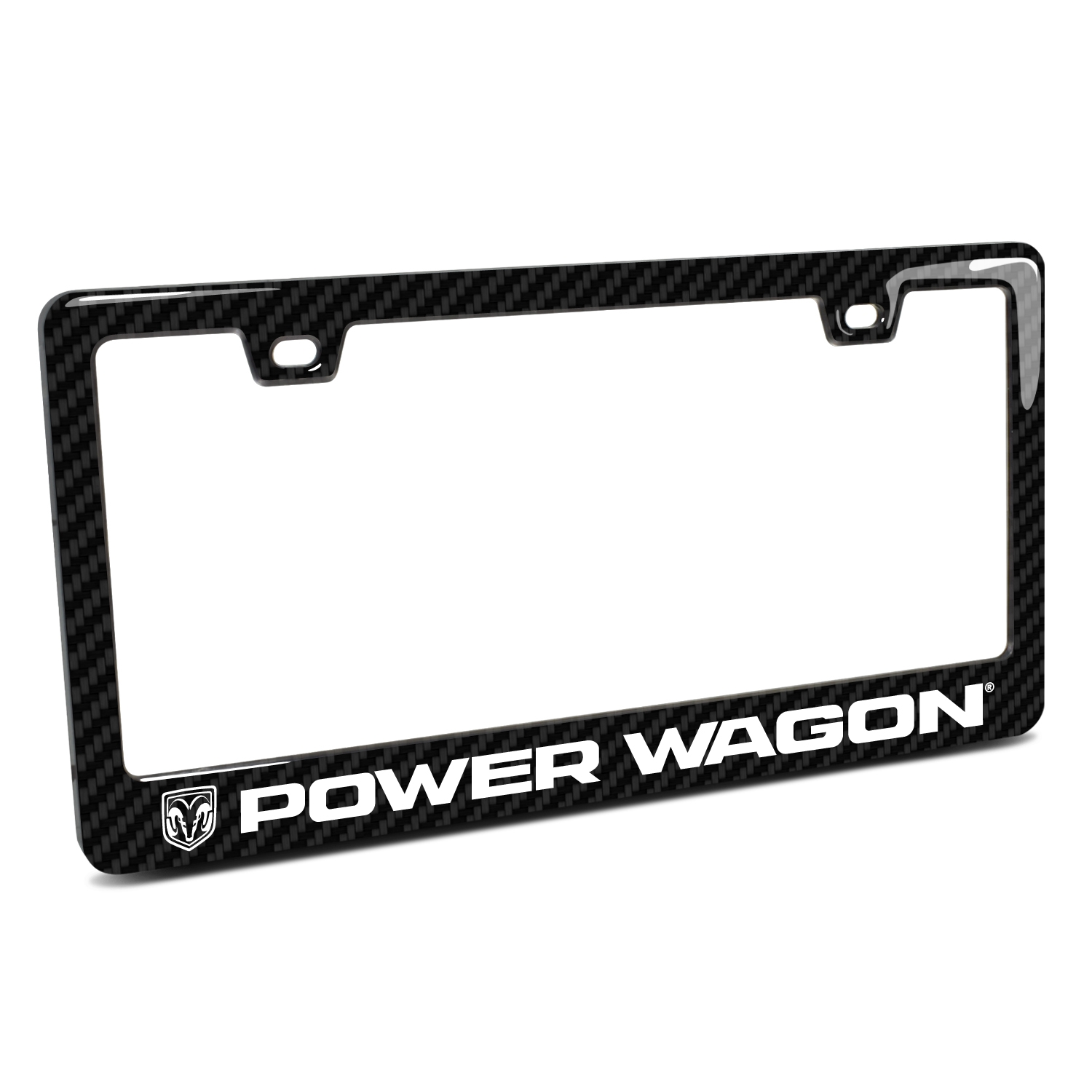RAM Power Wagon Black Real 3K Carbon Fiber Finish ABS Plastic License Plate Frame