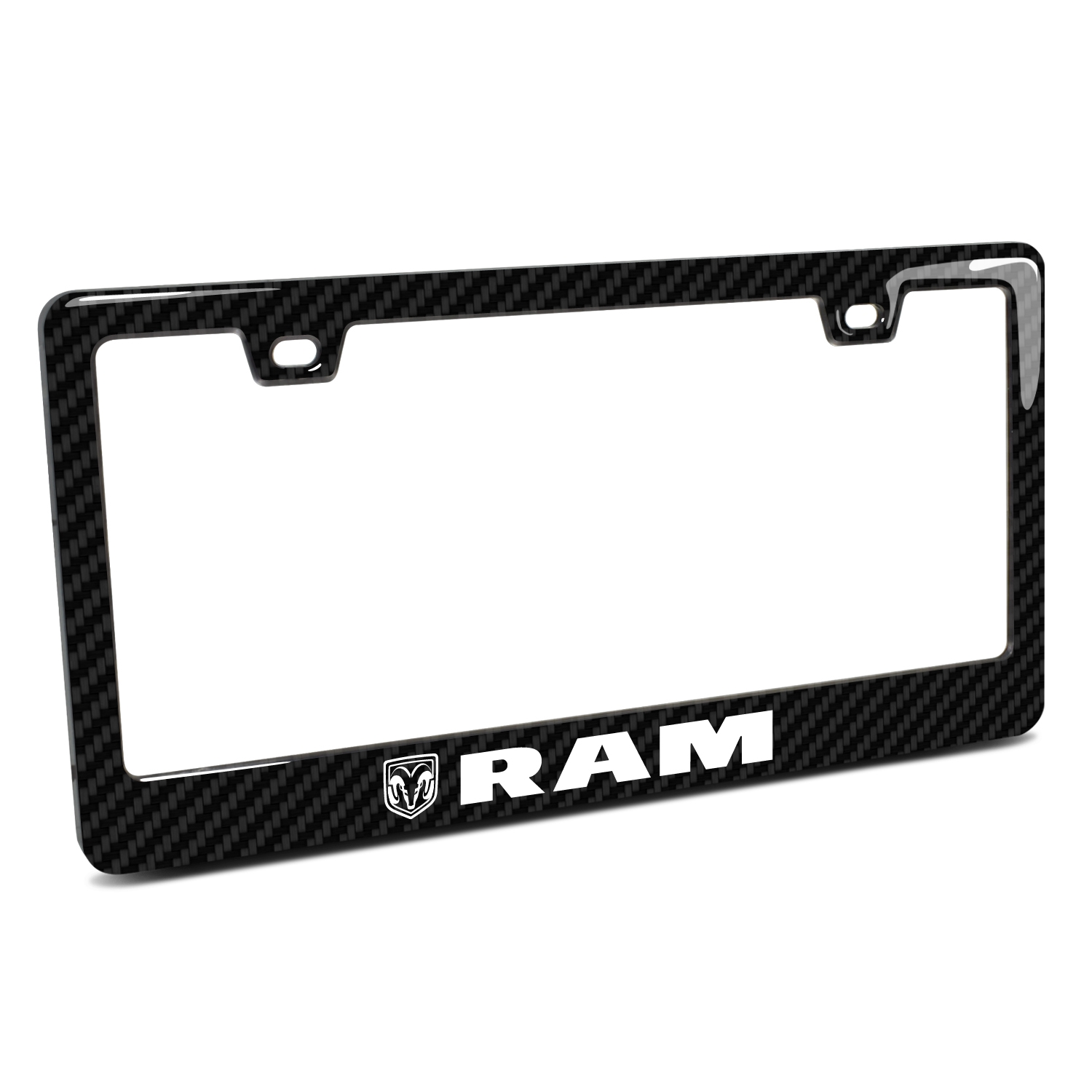 RAM Black Real 3K Carbon Fiber Finish ABS Plastic License Plate Frame