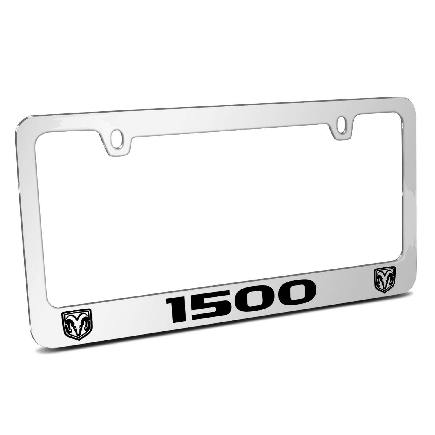 RAM 1500 Dual Logos Mirror Chrome Metal License Plate Frame