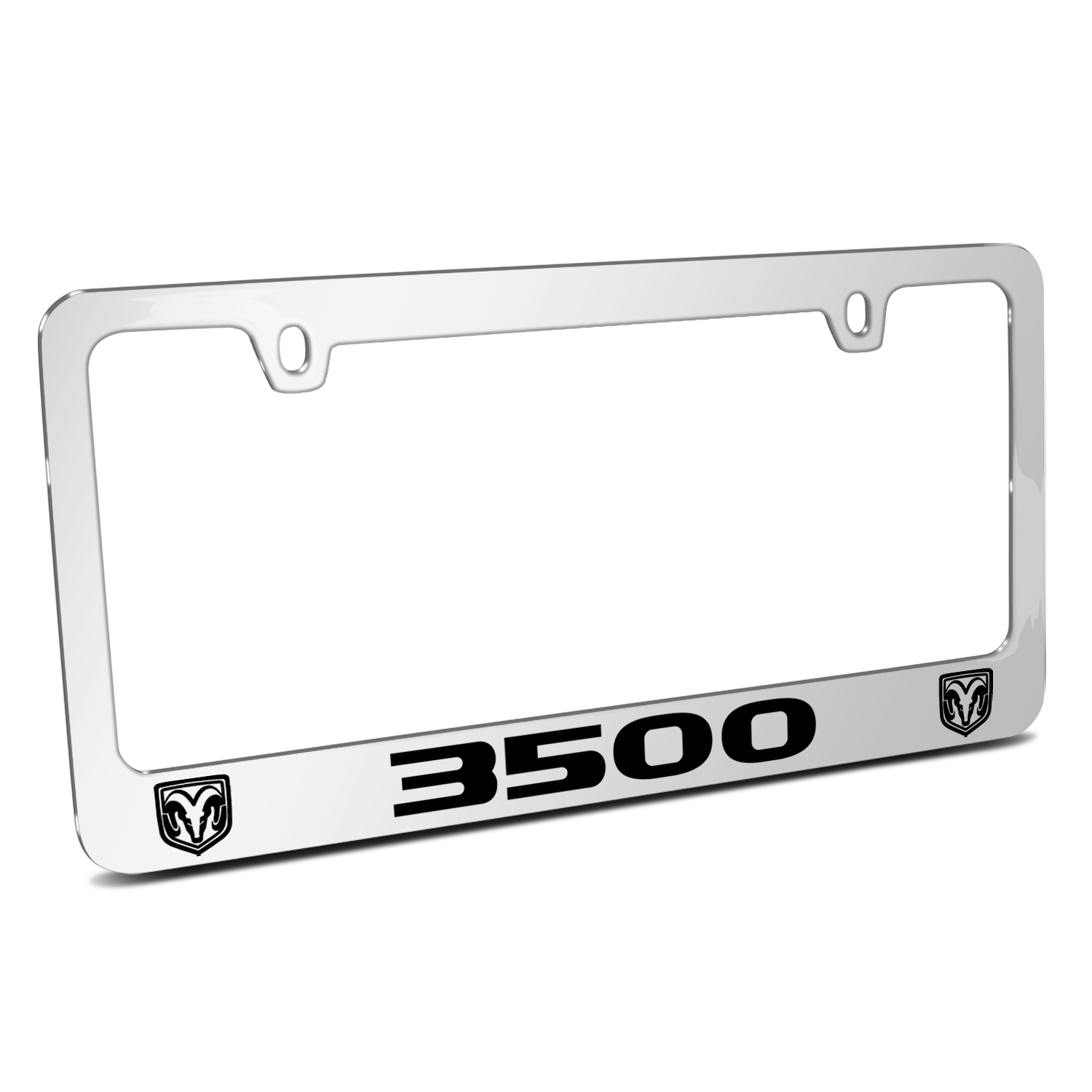 RAM 3500 Dual Logos Mirror Chrome Metal License Plate Frame