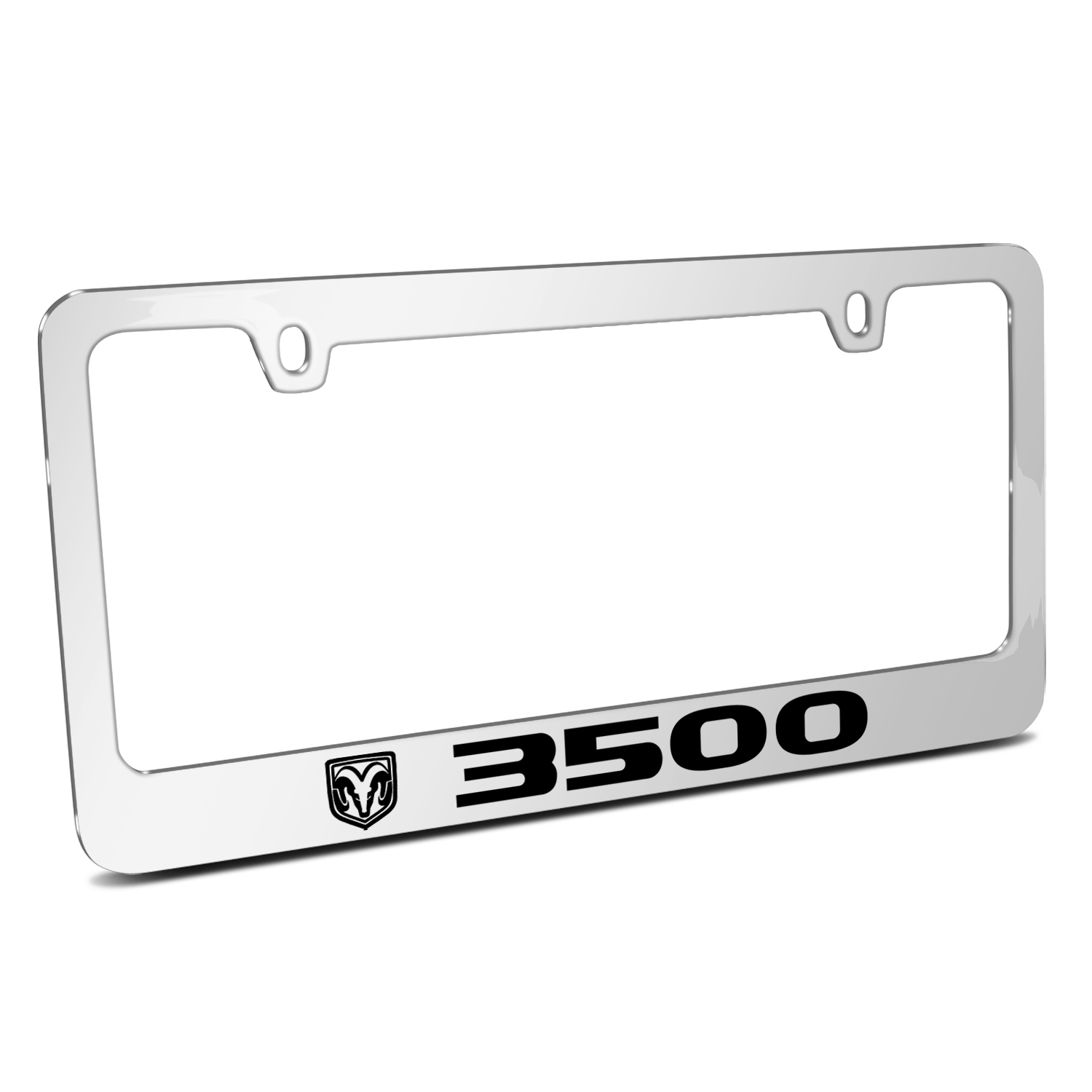 RAM 3500 Logo Mirror Chrome Metal License Plate Frame