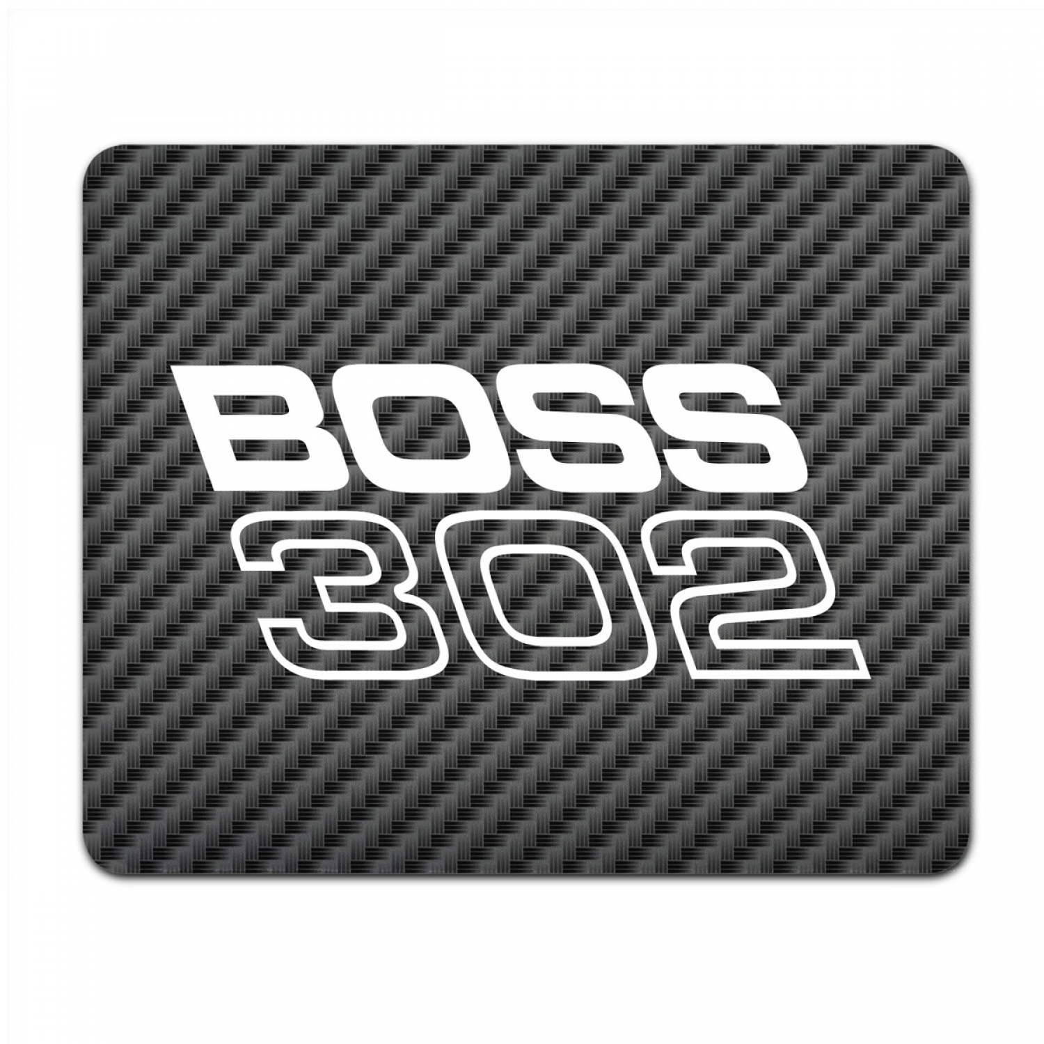 Ford Mustang Boss 302 Black Carbon Fiber Texture Graphic PC Mouse Pad