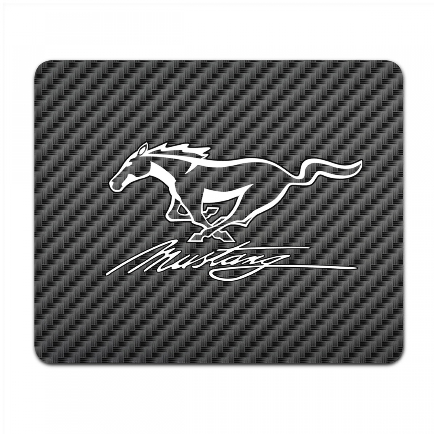 Ford Mustang Script Black Carbon Fiber Texture Graphic PC Mouse Pad