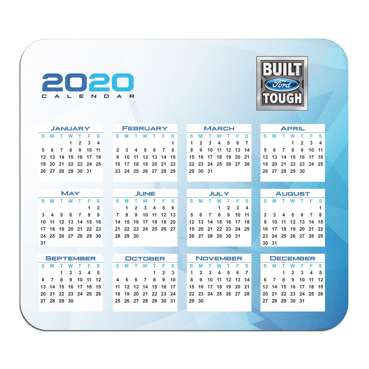 Ford Built-Ford-Tough Year Calendar Graphic PC Mouse Pad