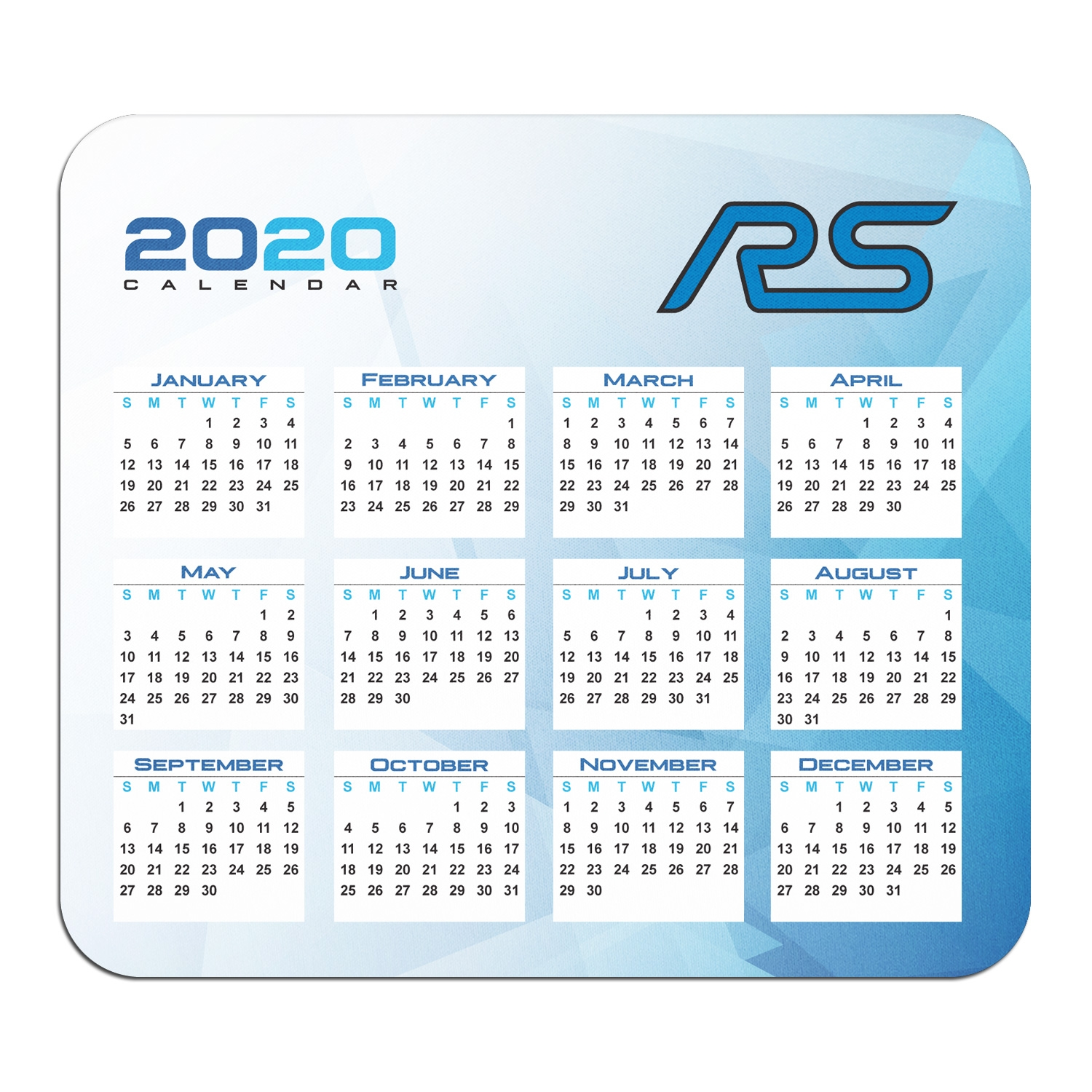 Ford Focus RS Year Calendar Graphic PC Mouse Pad