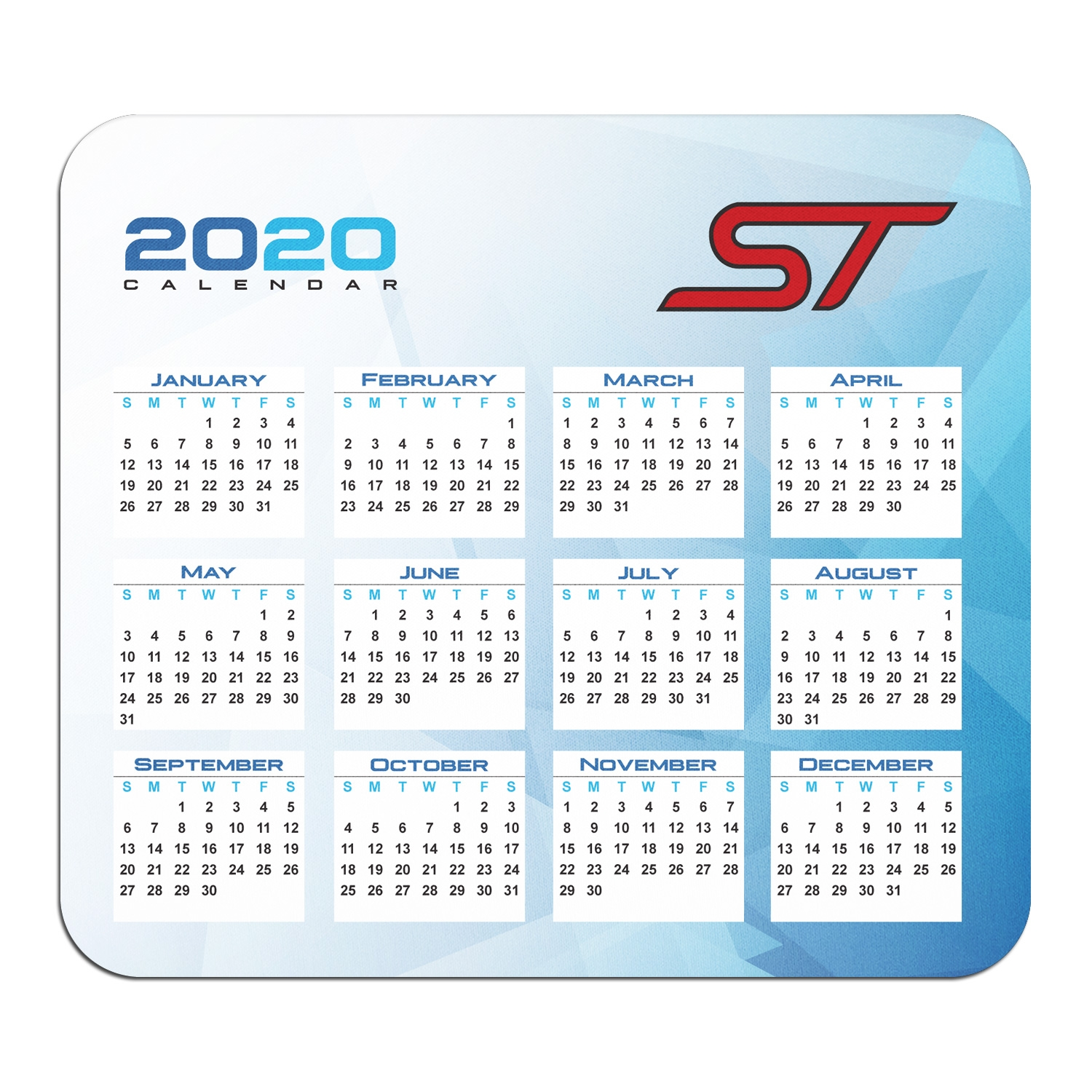 Ford Focus ST Year Calendar Graphic PC Mouse Pad