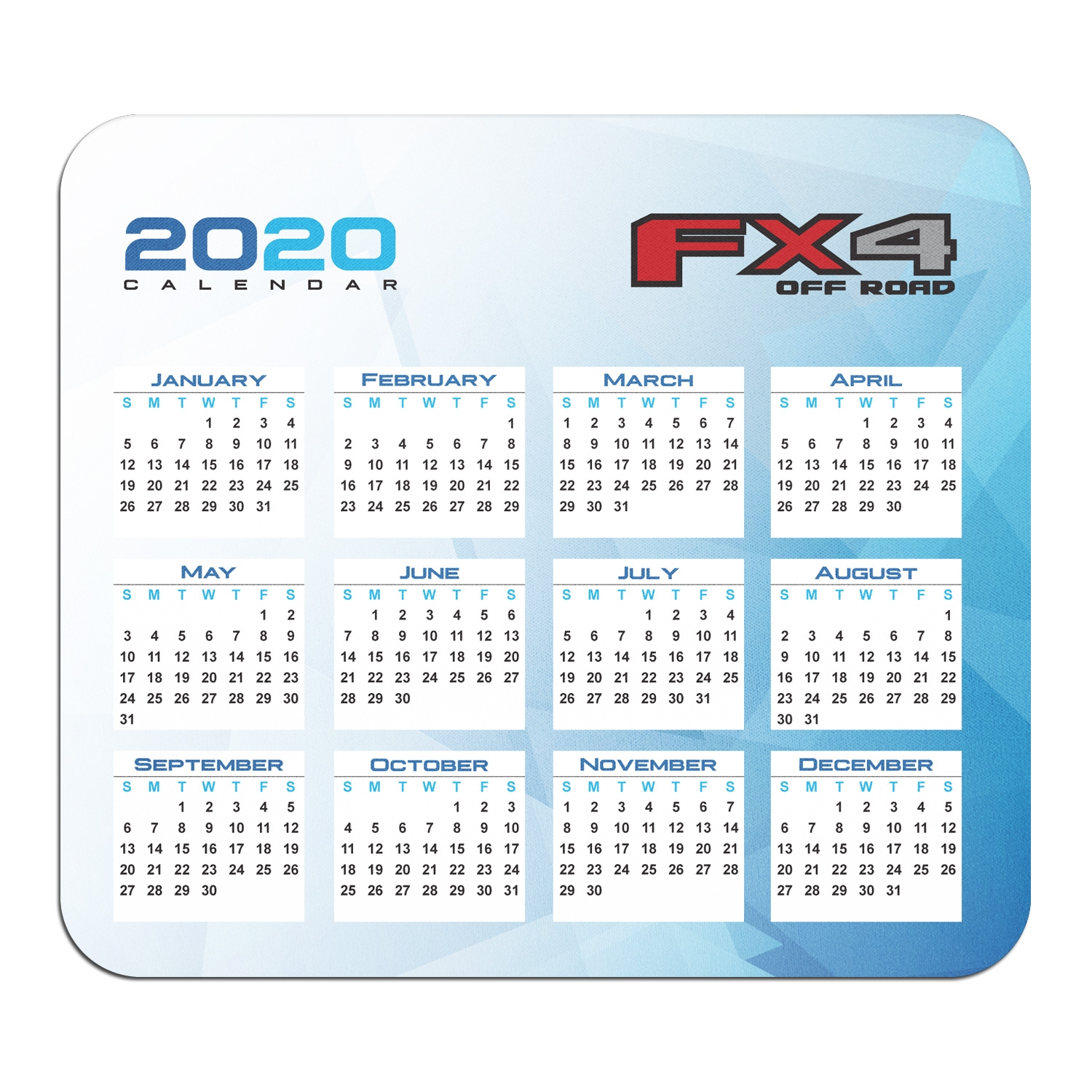 Ford F150 FX4 Off Road Year Calendar Graphic PC Mouse Pad
