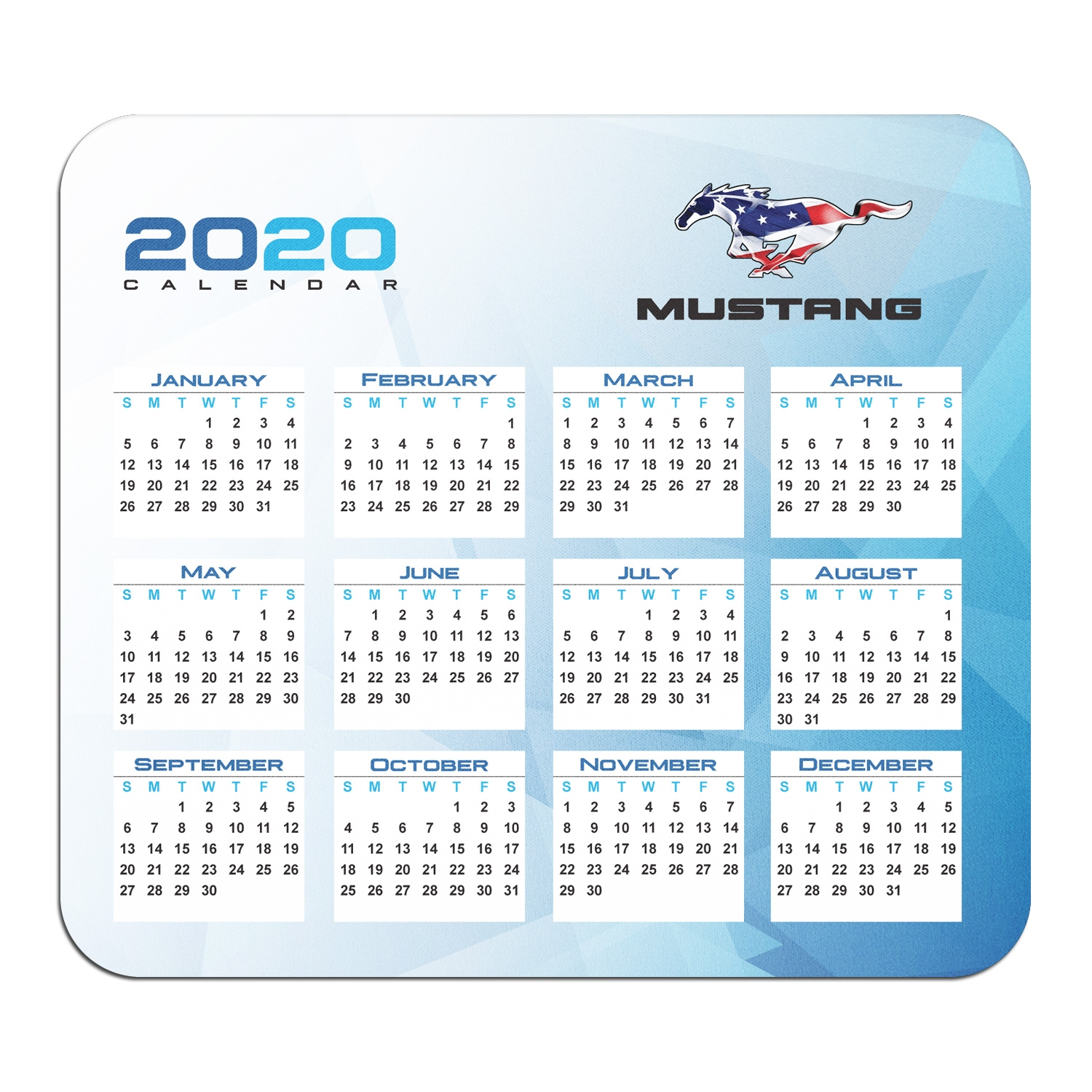 Ford Mustang Pony in USA Flag Year Calendar Graphic PC Mouse Pad