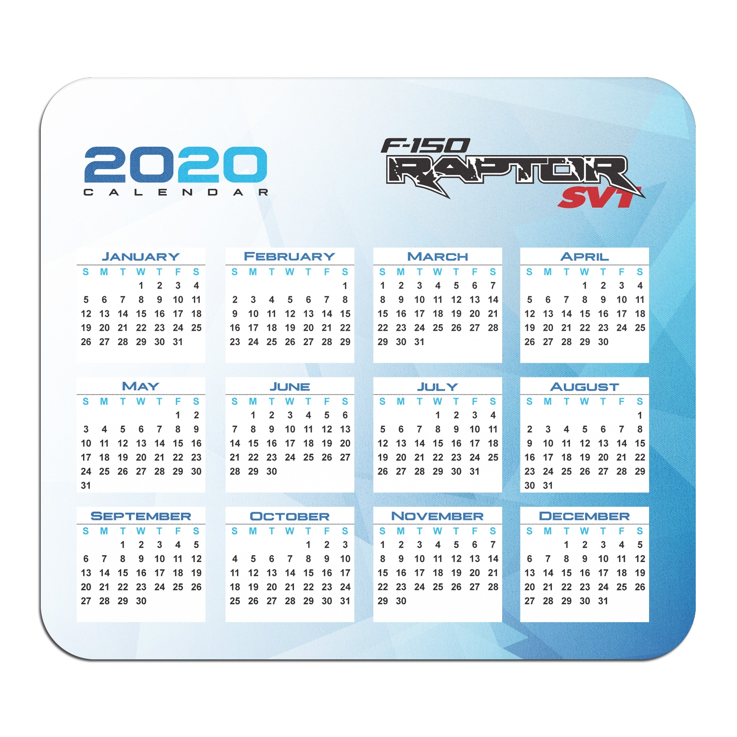 Ford F-150 Raptor SVT Year Calendar Graphic PC Mouse Pad