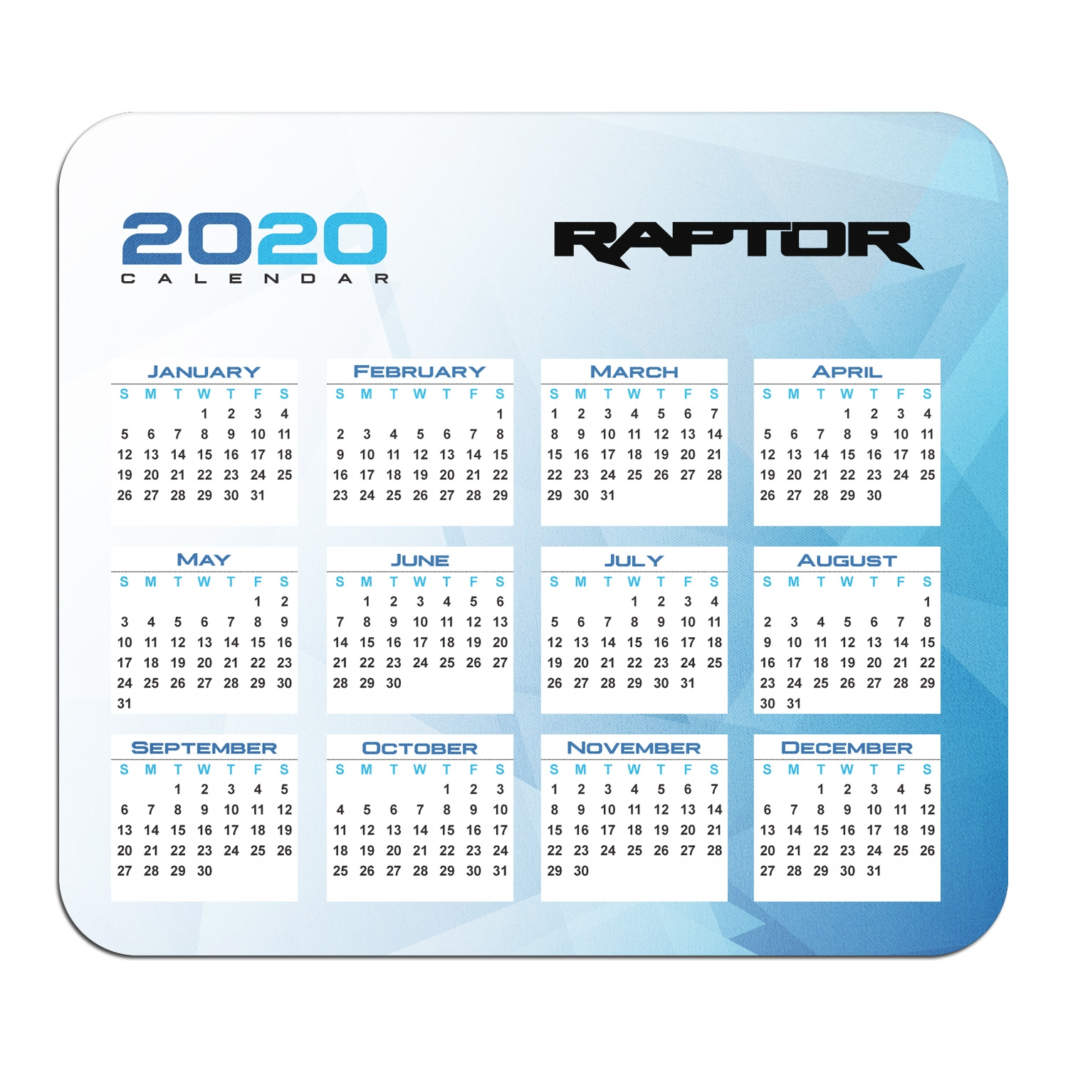Ford F150 Raptor 2017 to 2019 Year Calendar Graphic PC Mouse Pad