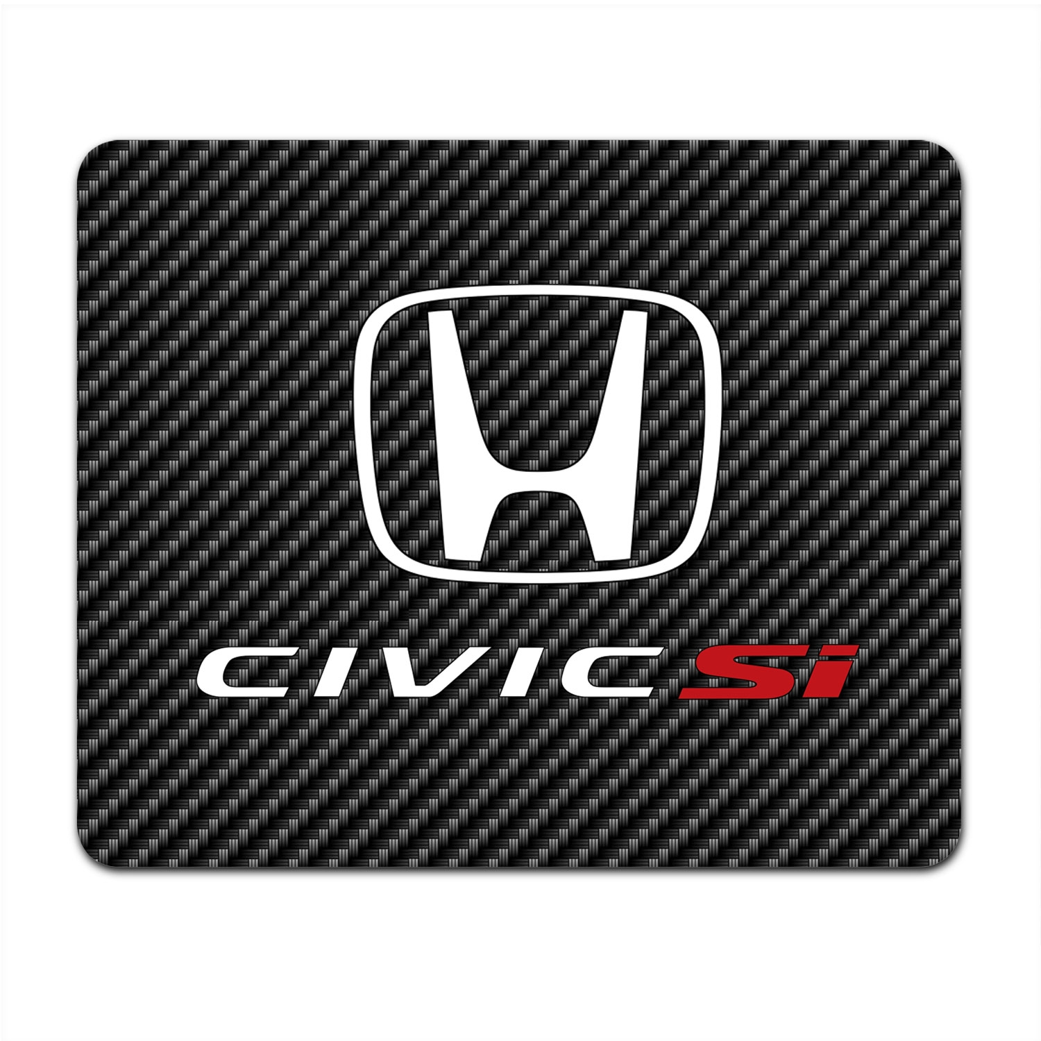 Honda Civic Si Black Carbon Fiber Texture Graphic PC Mouse Pad