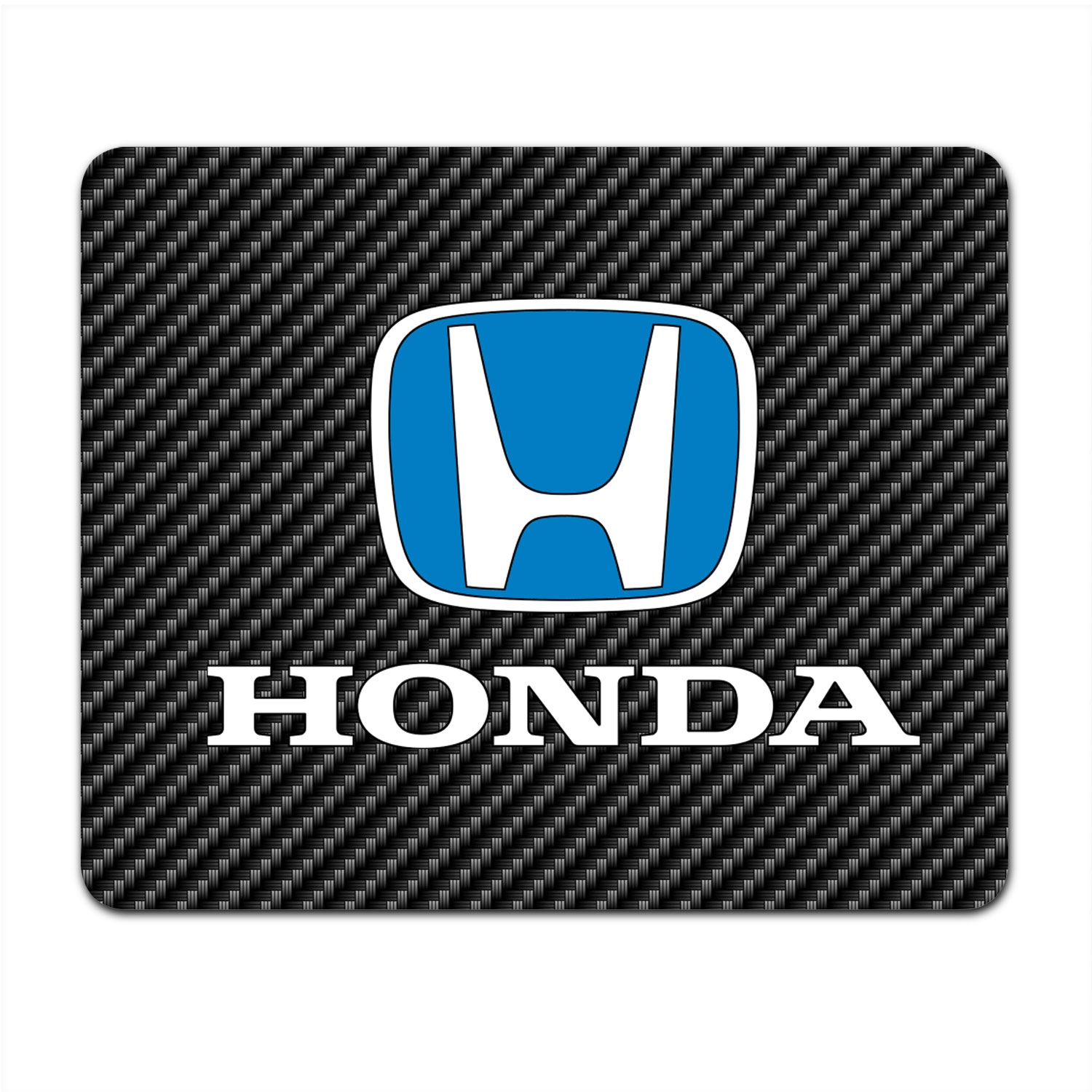Honda Blue Logo Black Carbon Fiber Texture Graphic PC Mouse Pad