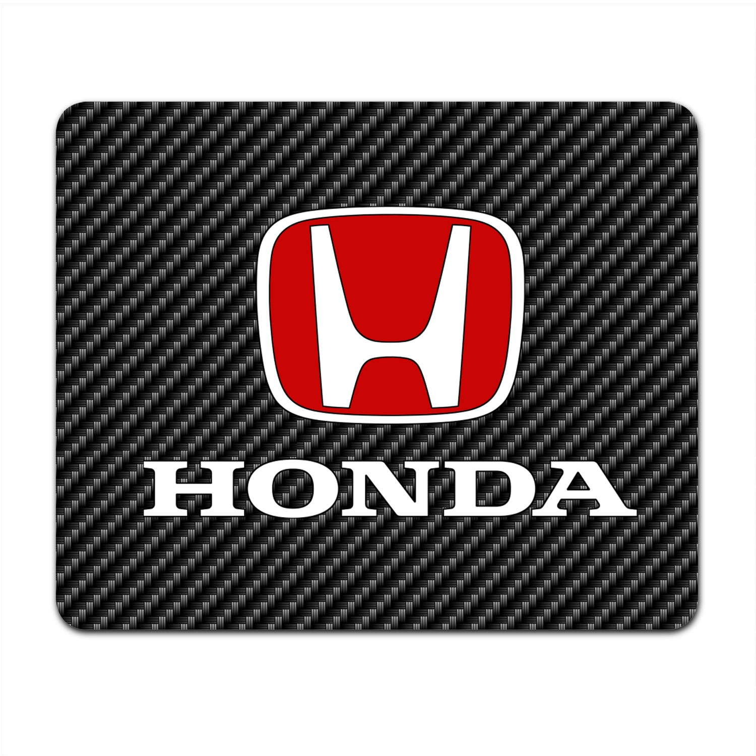 Honda Red Logo Black Carbon Fiber Texture Graphic PC Mouse Pad