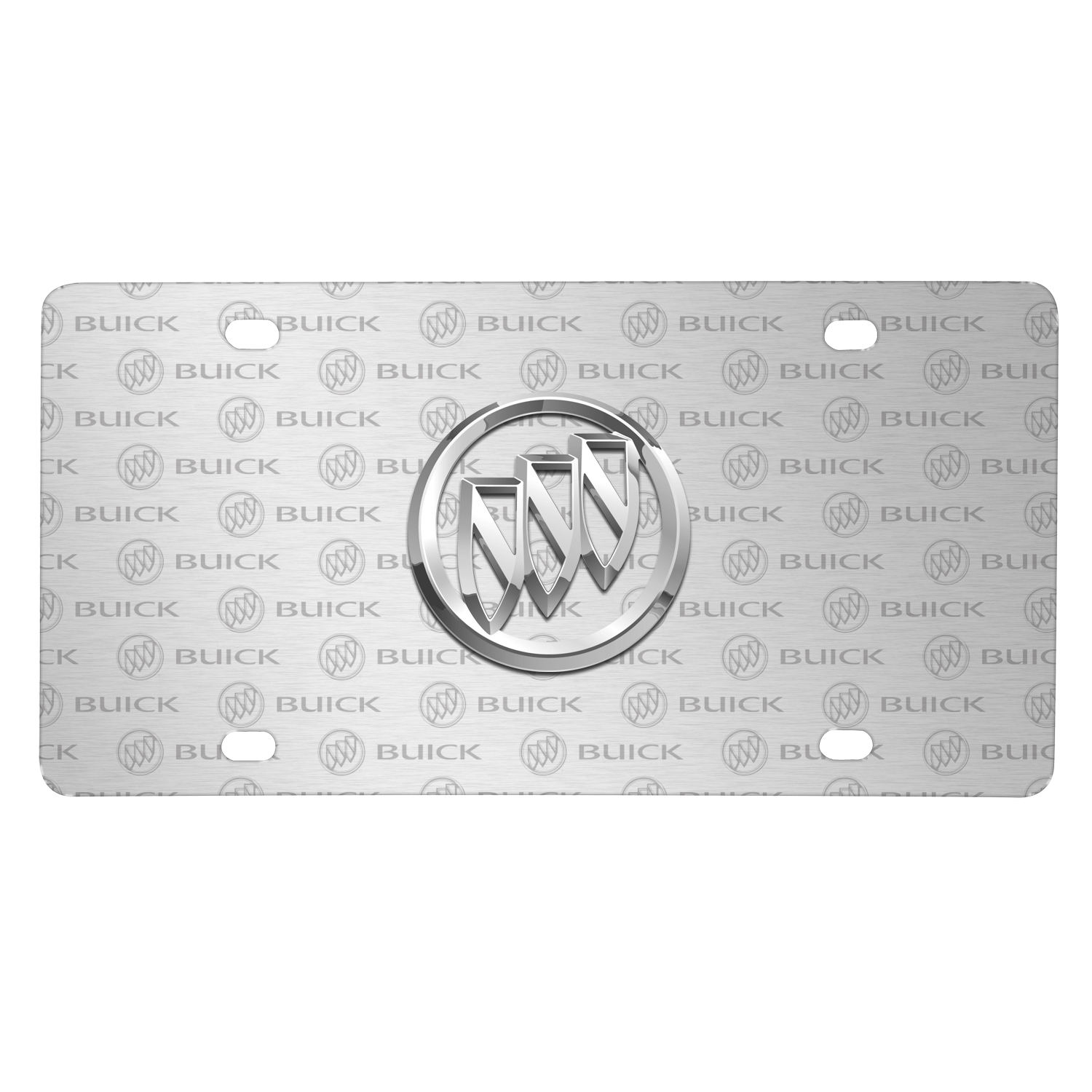 Buick 3D Logo on Logo Pattern Brushed Aluminum License Plate