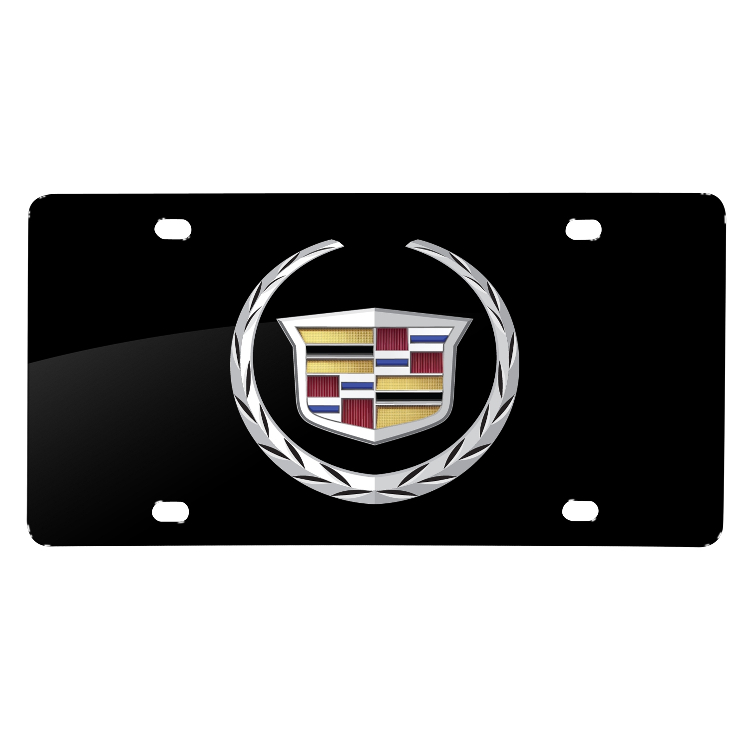 Cadillac 2013 Logo UV Graphic Black Stainless Steel License Plate