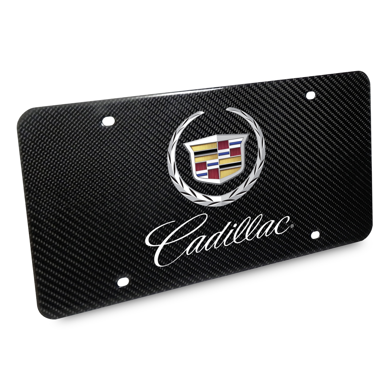 Cadillac 2013 Dual Logo UV Graphic 100% Real Black Carbon Fiber License Plate