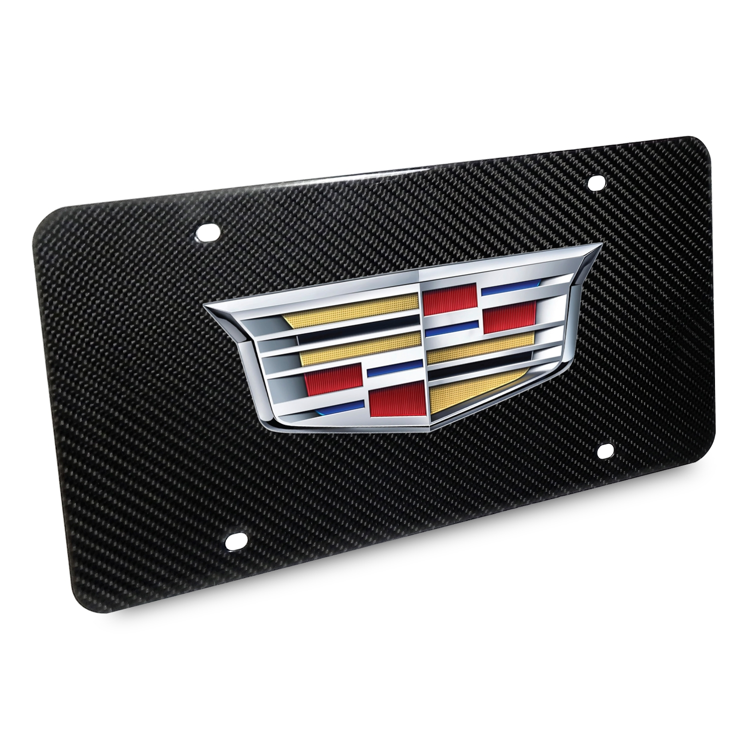 Cadillac 2015 Logo UV Graphic 100% Real Black Carbon Fiber License Plate