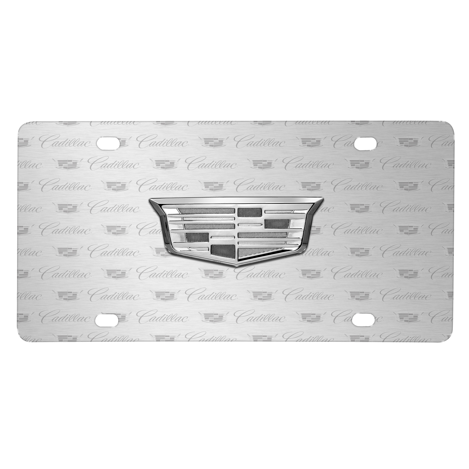 Cadillac Crest Silver 3D Logo on Logo Pattern Brushed Aluminum License Plate
