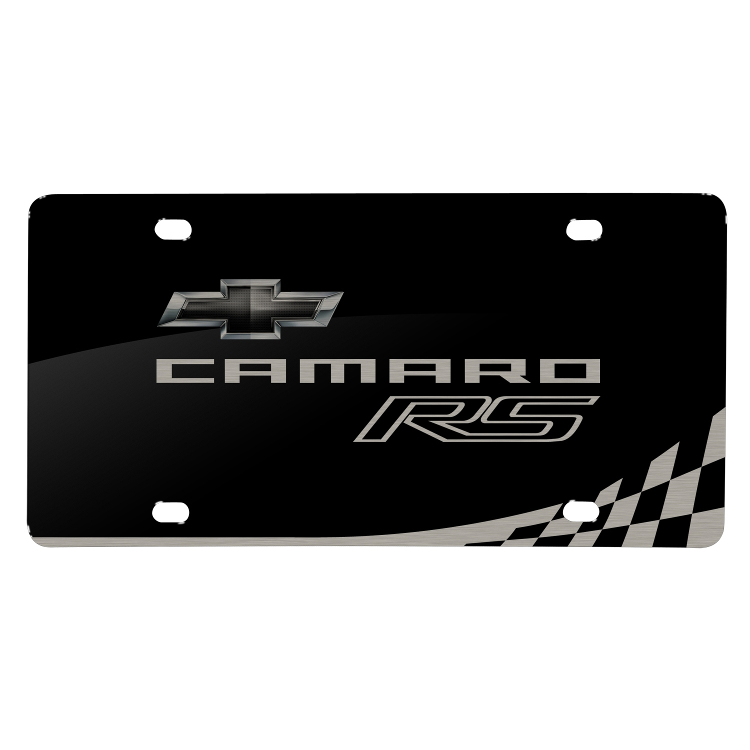 Chevrolet 2010 Camaro RS Laser Mark Checker Stripe Black Acrylic License Plate