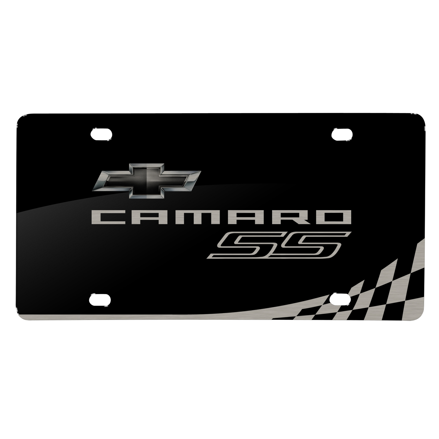 Chevrolet 2010 Camaro SS Laser Mark Checker Stripe Black Acrylic License Plate