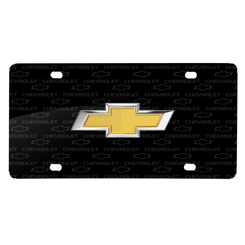 Chevrolet Golden in 3D Logo on Logo Pattern Black Aluminum License Plate