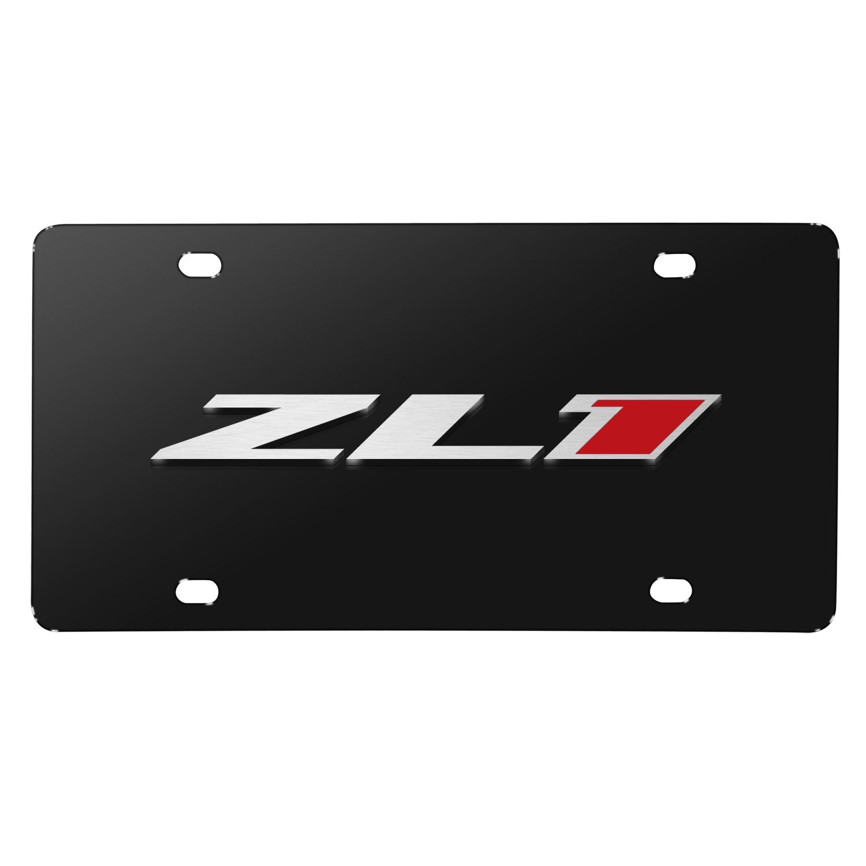 Chevrolet 2016 Camaro ZL1 Logo Black Metal License Plate