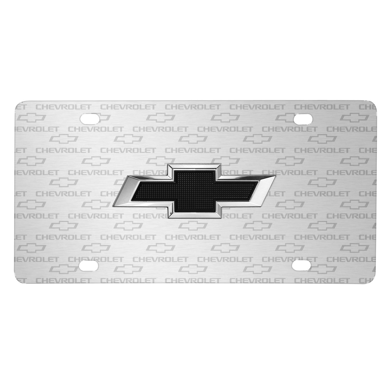 Chevrolet Black in 3D Logo on Logo Pattern Brushed Aluminum License Plate