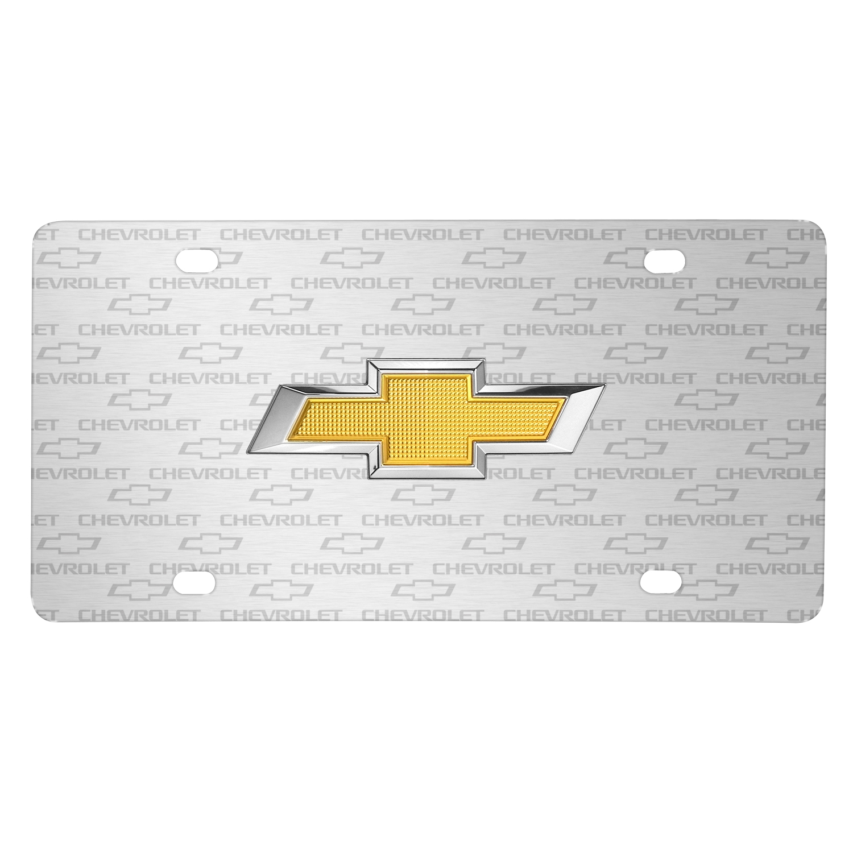 Chevrolet Golden in 3D Logo on Logo Pattern Brushed Aluminum License Plate