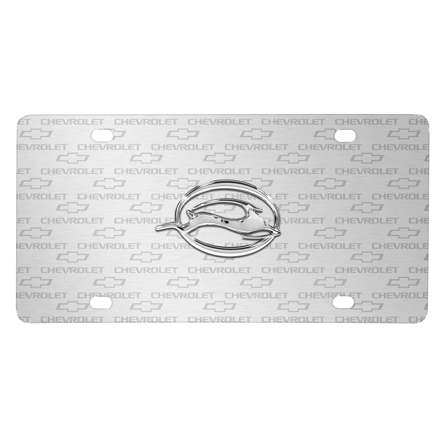 Chevrolet Impala in 3D Logo on Logo Pattern Brushed Aluminum License Plate