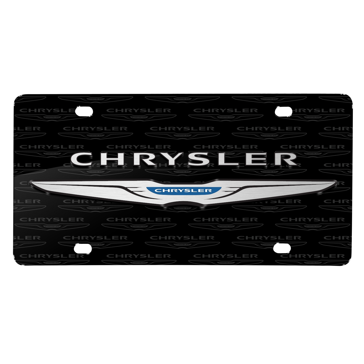 Chrysler 3D Dual Logo on Logo Pattern Black Aluminum License Plate