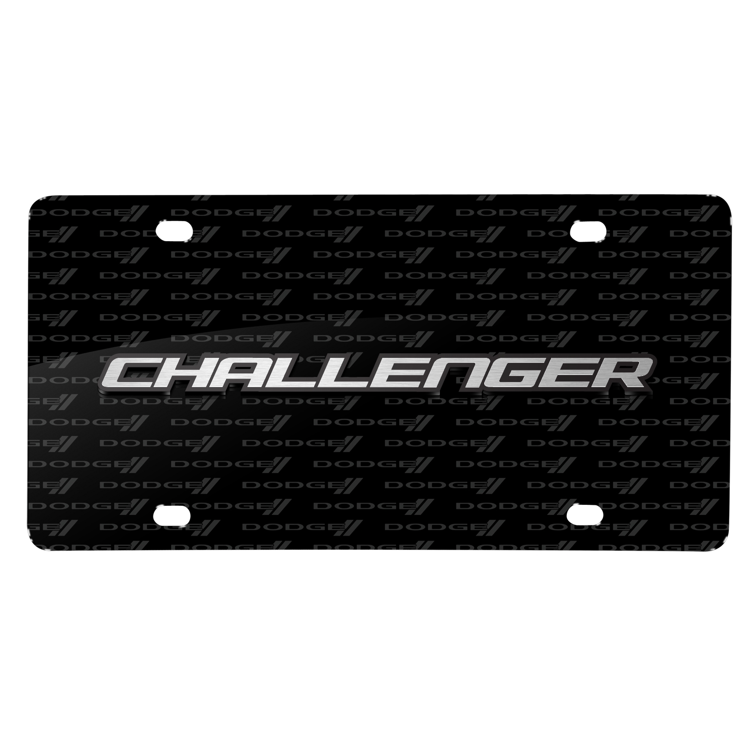 Dodge Challenger 3D Logo on Logo Pattern Black Aluminum License Plate