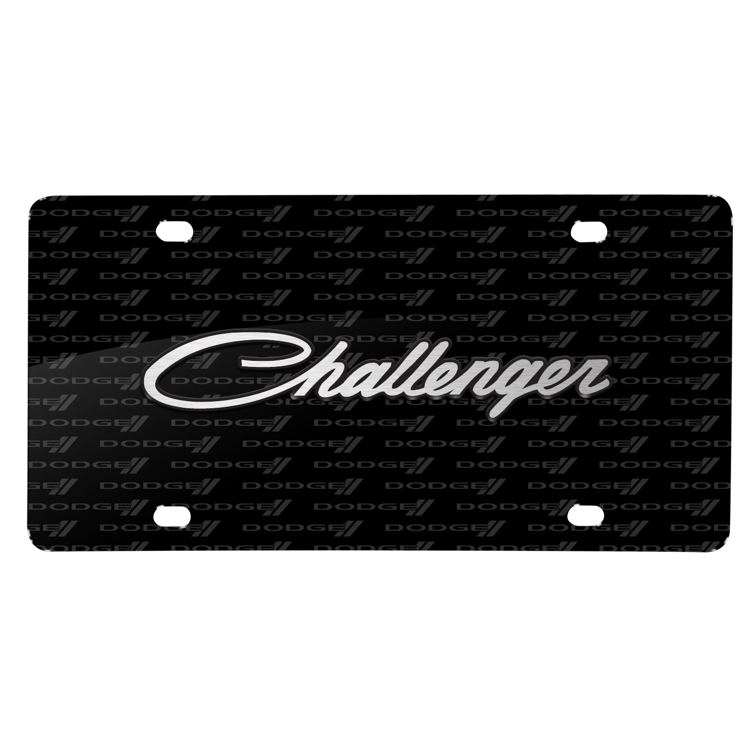 Dodge Challenger Classic 3D Logo on Logo Pattern Black Aluminum License Plate