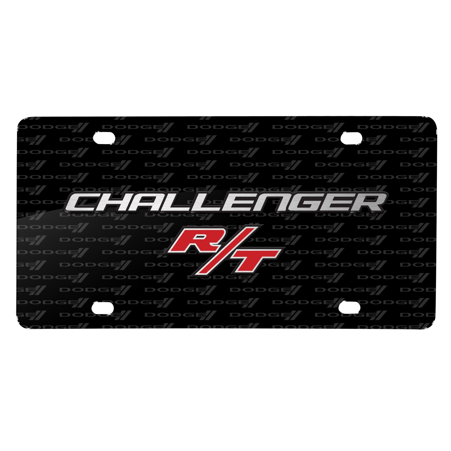 Dodge Challenger R/T 3D Logo on Logo Pattern Black Aluminum License Plate