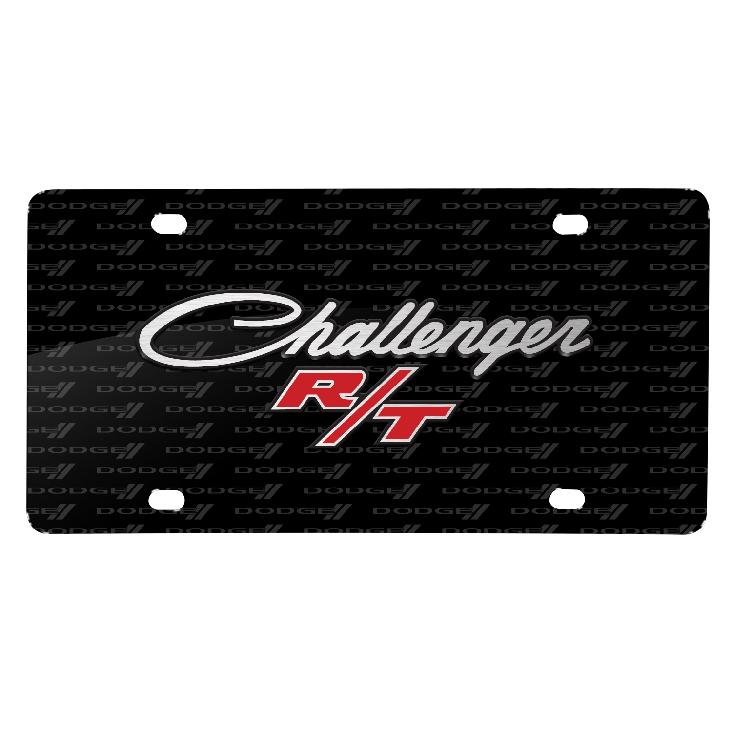 Dodge Challenger R/T Classic 3D Logo on Logo Pattern Black Aluminum License Plate